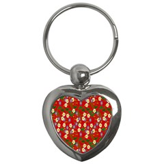 Red Flower Floral Tree Leaf Red Purple Green Gold Key Chains (Heart)