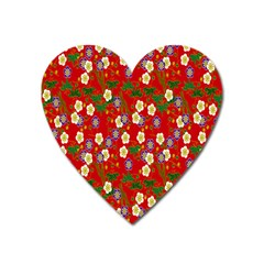 Red Flower Floral Tree Leaf Red Purple Green Gold Heart Magnet