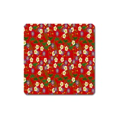 Red Flower Floral Tree Leaf Red Purple Green Gold Square Magnet