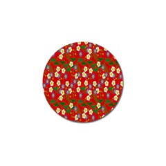 Red Flower Floral Tree Leaf Red Purple Green Gold Golf Ball Marker (10 pack)