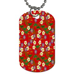 Red Flower Floral Tree Leaf Red Purple Green Gold Dog Tag (two Sides)