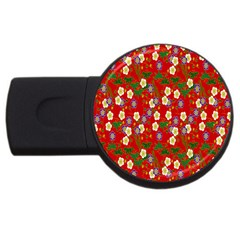 Red Flower Floral Tree Leaf Red Purple Green Gold USB Flash Drive Round (2 GB)