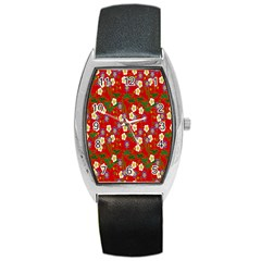 Red Flower Floral Tree Leaf Red Purple Green Gold Barrel Style Metal Watch