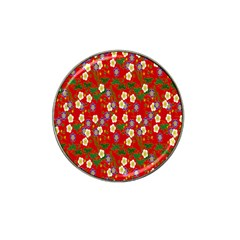 Red Flower Floral Tree Leaf Red Purple Green Gold Hat Clip Ball Marker (4 Pack)