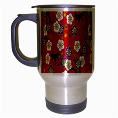 Red Flower Floral Tree Leaf Red Purple Green Gold Travel Mug (silver Gray)