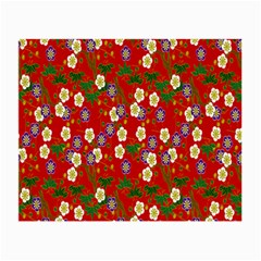 Red Flower Floral Tree Leaf Red Purple Green Gold Small Glasses Cloth