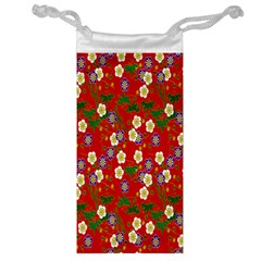 Red Flower Floral Tree Leaf Red Purple Green Gold Jewelry Bag