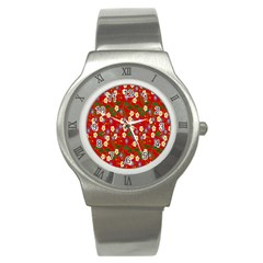 Red Flower Floral Tree Leaf Red Purple Green Gold Stainless Steel Watch
