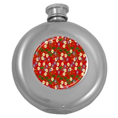 Red Flower Floral Tree Leaf Red Purple Green Gold Round Hip Flask (5 oz)
