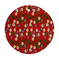 Red Flower Floral Tree Leaf Red Purple Green Gold Round Ornament (Two Sides)