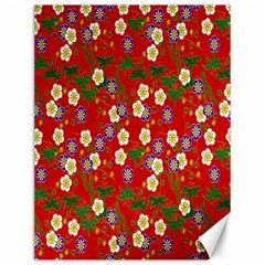 Red Flower Floral Tree Leaf Red Purple Green Gold Canvas 12  x 16