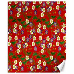 Red Flower Floral Tree Leaf Red Purple Green Gold Canvas 16  x 20