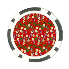Red Flower Floral Tree Leaf Red Purple Green Gold Poker Chip Card Guard