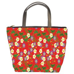Red Flower Floral Tree Leaf Red Purple Green Gold Bucket Bags