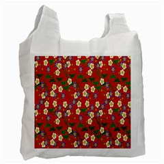 Red Flower Floral Tree Leaf Red Purple Green Gold Recycle Bag (One Side)