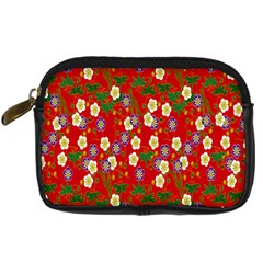 Red Flower Floral Tree Leaf Red Purple Green Gold Digital Camera Cases