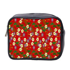 Red Flower Floral Tree Leaf Red Purple Green Gold Mini Toiletries Bag 2-Side