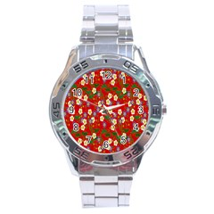 Red Flower Floral Tree Leaf Red Purple Green Gold Stainless Steel Analogue Watch