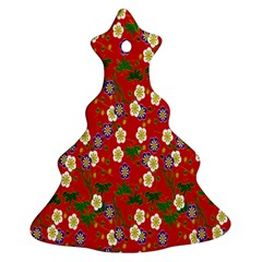 Red Flower Floral Tree Leaf Red Purple Green Gold Ornament (Christmas Tree)