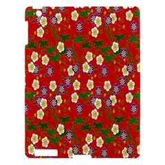 Red Flower Floral Tree Leaf Red Purple Green Gold Apple iPad 3/4 Hardshell Case