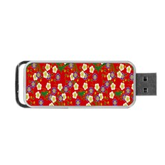Red Flower Floral Tree Leaf Red Purple Green Gold Portable Usb Flash (two Sides)