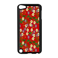 Red Flower Floral Tree Leaf Red Purple Green Gold Apple iPod Touch 5 Case (Black)