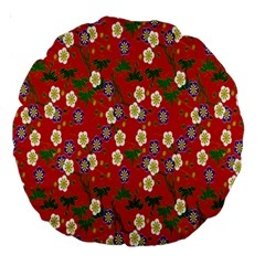Red Flower Floral Tree Leaf Red Purple Green Gold Large 18  Premium Round Cushions