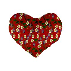 Red Flower Floral Tree Leaf Red Purple Green Gold Standard 16  Premium Heart Shape Cushions