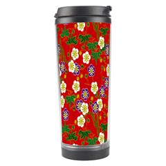 Red Flower Floral Tree Leaf Red Purple Green Gold Travel Tumbler