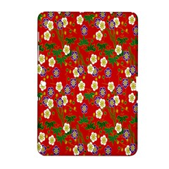 Red Flower Floral Tree Leaf Red Purple Green Gold Samsung Galaxy Tab 2 (10.1 ) P5100 Hardshell Case