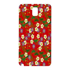 Red Flower Floral Tree Leaf Red Purple Green Gold Samsung Galaxy Note 3 N9005 Hardshell Back Case