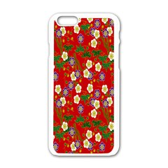 Red Flower Floral Tree Leaf Red Purple Green Gold Apple iPhone 6/6S White Enamel Case