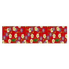Red Flower Floral Tree Leaf Red Purple Green Gold Satin Scarf (Oblong)