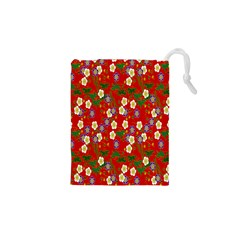 Red Flower Floral Tree Leaf Red Purple Green Gold Drawstring Pouches (XS)