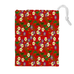 Red Flower Floral Tree Leaf Red Purple Green Gold Drawstring Pouches (Extra Large)