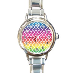Colorful Rainbow Moroccan Pattern Round Italian Charm Watch