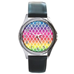 Colorful Rainbow Moroccan Pattern Round Metal Watch