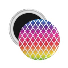 Colorful Rainbow Moroccan Pattern 2.25  Magnets