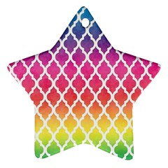 Colorful Rainbow Moroccan Pattern Ornament (Star)