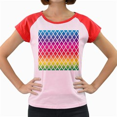 Colorful Rainbow Moroccan Pattern Women s Cap Sleeve T-Shirt