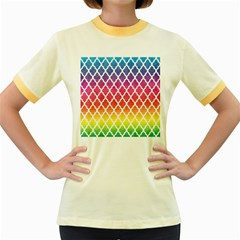 Colorful Rainbow Moroccan Pattern Women s Fitted Ringer T-Shirts