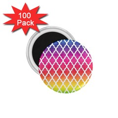 Colorful Rainbow Moroccan Pattern 1 75  Magnets (100 Pack)