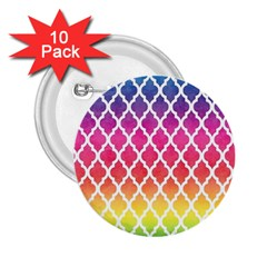 Colorful Rainbow Moroccan Pattern 2 25  Buttons (10 Pack)