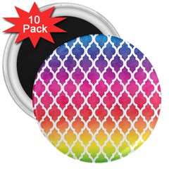 Colorful Rainbow Moroccan Pattern 3  Magnets (10 Pack)