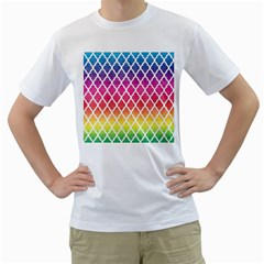 Colorful Rainbow Moroccan Pattern Men s T Shirt (white) (two Sided)