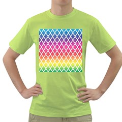 Colorful Rainbow Moroccan Pattern Green T-Shirt