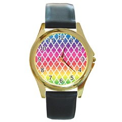 Colorful Rainbow Moroccan Pattern Round Gold Metal Watch