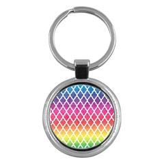 Colorful Rainbow Moroccan Pattern Key Chains (round)