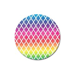 Colorful Rainbow Moroccan Pattern Magnet 3  (round)