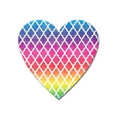 Colorful Rainbow Moroccan Pattern Heart Magnet